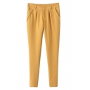 Yellow Simple Skinny Pencil Pants