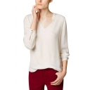 White Long Sleeve V-Neck Blouse By Loose