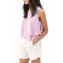 Purple Sleeveless Round Neck Ruffle Hem Chiffon Blouse