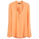Orange V-Neck Long Sleeve Button Top