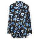 Black Long Sleeve Floral Print Chiffon Blouse