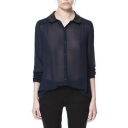 Navy Long Sleeve Single Breast Chiffon Blouse