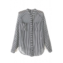 Striped Stand Collar Long Sleeve Chiffon Blouse