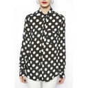 Polka Dot Print Long Sleeve Pocket Shirt