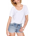 Back Cross Cutout White Short Sleeve T-Shirt