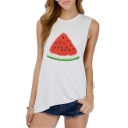 White Watermelon Print Loose Casual Tank
