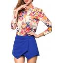 Eye-Catching Flower Print Chiffon Shirt