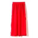 Elastic Waist Split Hem Chiffon Skirt
