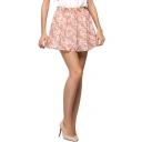 Pink Background Daisy Print Chiffon Skater Skirt