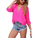 Fuchsia Plain Long Sleeve Stand Up Collar Blouse