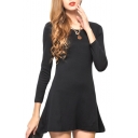 Black Slim Concise A-line Mini Dress