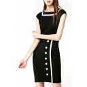 Black Square Neck Single-Breasted Midi Dress