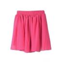 Fuchsia Plain Elastic Waist Chiffon Skirt