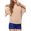 Short Sleeve Pocket Front Round Neck Chiffon Top