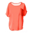 Orange Short Sleeve Pocket Front Chiffon Blouse