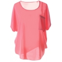 Watermelon Short Sleeve Pocket Front Chiffon Blouse