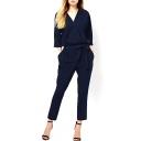 Dark Blue V-Neck 3/4 Sleeve Waist Tie Jumpsuit