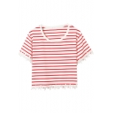 Red-White Stripe Print Round Neck Lace Hem T-Shirt