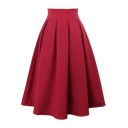 Plain Chiffon High Waist Pleated Midi Skirt