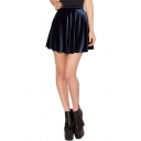 Dark Blue Velvet Skater Skirt