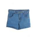 Mid Waist Dark Wash Plain Belted Denim Shorts