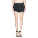 Black Dark Wash Hot Mid Waist Denim Shorts