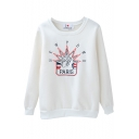 White Paris Embroidered Long Sleeve Velvet Sweatshirt