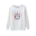 White Paris Embroidered Long Sleeve Velvet Sweatshirt