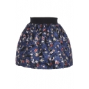Beautiful Floral Print Wool Elastic Waist Skirt