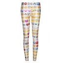 Emoji Print Elastic Fashionable Leggings