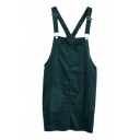 Dark Green Vintage Single Pocket Front Corduroy Slip Dress
