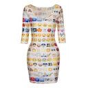 Newly Sexy Elastic Emoji Print Fitted Half Sleeve Dress