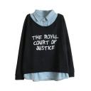 Fake Two-pieced Style Denim Panel Lapel Letter Print Sweatshirt