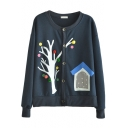 Mori Girl House&Tree Print Round Neck Button Fly Cotton Crop Coat
