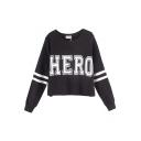 HERO&Stripe Print Crop Sweatshirt