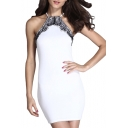 Halter Sleeveless Eyelashes Lace Inserted Mini Dress
