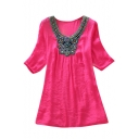 Ethnic Beaded Embellish Neckline 1/2 Sleeve Loose Blouse