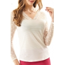 White Lace Crochet Long Sleeve V-Neck Top