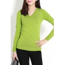 Plain V-Neck Long Sleeve Fitted Pull Over Sweater