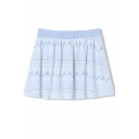 Sweet Summer Lace Crochet Pleated Mini Skirt