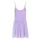 Chiffon Panel Pleated Hem Plain Slip Dress
