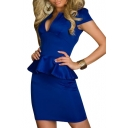 Blue Plain V-Neck Ruffle Hem Cap Sleeve Dress