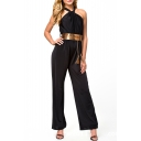 Sexy High Waist Halter Sleeveless Belted Fitted Jumpsuit
