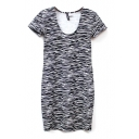 Short Sleeve Zebra Stripes Print Slim Dress