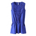 Lace Crocheted Front Insert Plain Chiffon Sleeveless Elastic Waist Tanks Dress