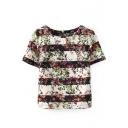Short Sleeve Back Zip Stripe&Flower Print Blouse