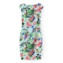 Floral Print Sleeveless Boat Neck Fitted Dress