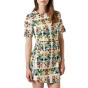 Cream Short Sleeve Symmetric Gorgeous Flora Slim Dress