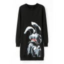 Black Long Sleeve Color Ink Rabbit Print Dress