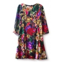 Colorful Floral Tie-Dye 3/4 Sleeve Dress